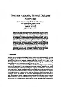 Tools for Authoring Tutorial Dialogue Knowledge