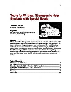 Tools for Writing: Strategies to Help Students with Special Needs
