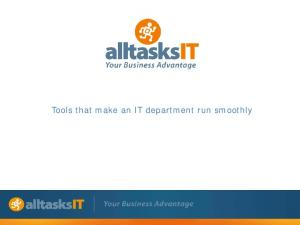 Tools that make an IT department run smoothly