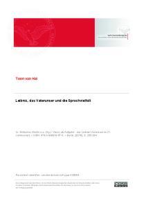 Toon van Hal. Leibniz, das Vaterunser und die Sprachvielfalt