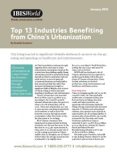 Top 13 Industries Benefiting from China s Urbanization