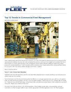 Top 13 Trends in Commercial Fleet Management