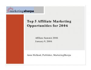 Top 5 Affiliate Marketing Opportunities for 2006