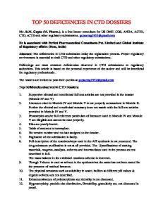 TOP 50 DEFICIENCIES IN CTD DOSSIERS