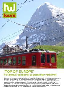 Top of Europe mit Schweizer Bergbahnen zu grossartigen Panoramen