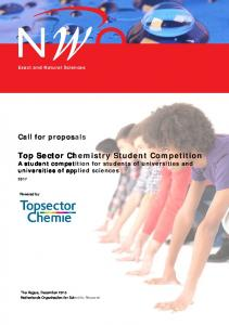 Top Sector Chemistry Student Competition A student competition for students of universities and universities of applied sciences