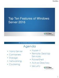 Top Ten Features of Windows Server 2016