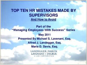 TOP TEN HR MISTAKES MADE BY SUPERVISORS And How to Avoid
