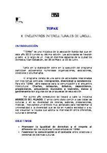 TOPAK X ENCUENTROS INTERCULTURALES DE URGULL