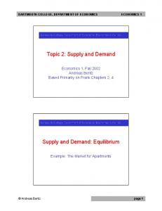 Topic 2: Supply and Demand