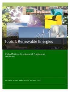 Topic I: Renewable Energies