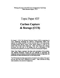Topic Paper #27. Carbon Capture & Storage (CCS)