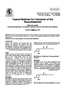 Topical Medicine for Treatment of the Musculoskeletal