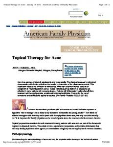 Topical Therapy for Acne