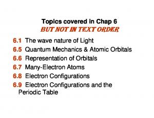 Topics covered in Chap 6 BUT NOT IN TEXT ORDER