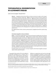 TOPOGRAPHICAL DISORIENTATION IN ALZHEIMER S DISEASE