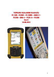 TOPSURV KULLANIM KLAVUZU FC FC200 FC 2000 GMS 2 FC250 - GRS-1 FC25 A FC236 Rev-K