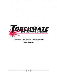 Torchmate CAD Version 7.1 User s Guide