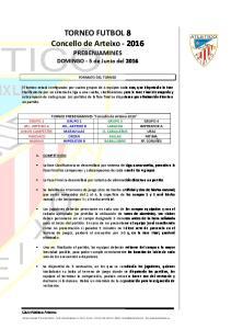 TORNEO FUTBOL 8 Concello de Arteixo PREBENJAMINES DOMINGO - 5 de Junio del 2016