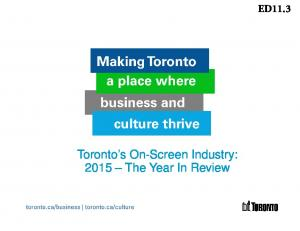 Toronto s On-Screen Industry: 2015 The Year In Review