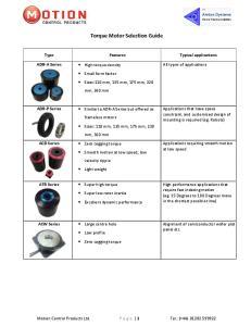 Torque Motor Selection Guide