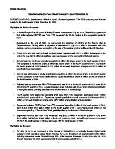 TORSTAR CORPORATION REPORTS FOURTH QUARTER RESULTS