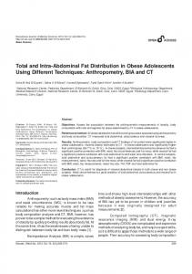 Total and Intra-Abdominal Fat Distribution in Obese Adolescents Using Different Techniques: Anthropometry, BIA and CT