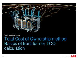 Total Cost of Ownership method Basics of transformer TCO calculation