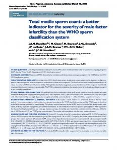 Total motile sperm count: a better indicator for the severity of male factor infertility than the WHO sperm classification system