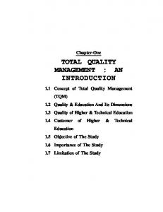 TOTAL QUALITY MANAGEMENT : AN INTRODUCTION