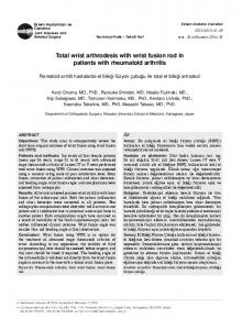 Total wrist arthrodesis with wrist fusion rod in patients with rheumatoid arthritis