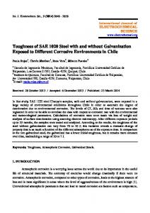 Toughness of SAE 1020 Steel with and without Galvanization Exposed to Different Corrosive Environments in Chile
