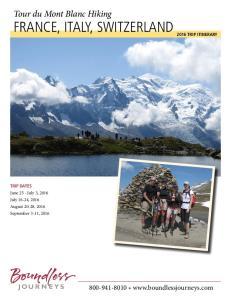 Tour du Mont Blanc Hiking FRANCE, ITALY, SWITZERLAND