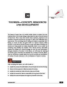 TOURISM CONCEPT, RESOURCES AND DEVELOPMENT