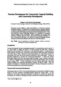 Tourism Development for Community Capacity Building and Community Development