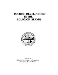 TOURISM DEVELOPMENT IN THE SOLOMON ISLANDS