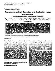 Tourism marketing information and destination image management