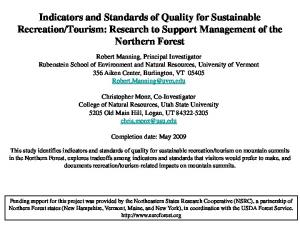 Tourism: Research to Support Management of the Northern Forest