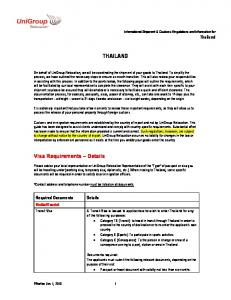 Tourist. International Shipment & Customs Regulations and Information for Thailand