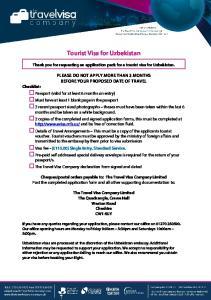 Tourist Visa for Uzbekistan