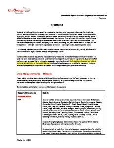 Tourists. International Shipment & Customs Regulations and Information for Bermuda