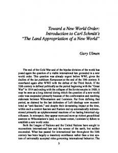 Toward a New World Order: Introduction to Carl Schmitt s The Land Appropriation of a New World