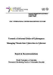 Toward a Universal Order of Cyberspace: