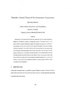 Towards a General Theory of Non-Cooperative Computation