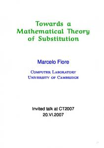 Towards a Mathematical Theory of Substitution