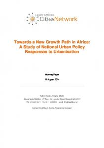 Towards a New Growth Path in Africa: A Study of National Urban Policy Responses to Urbanisation