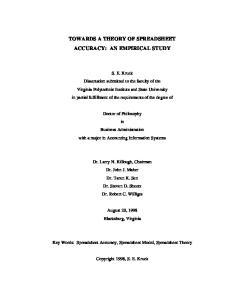 TOWARDS A THEORY OF SPREADSHEET ACCURACY: AN EMPIRICAL STUDY