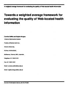 Towards a weighted average framework for evaluating the quality of Web-located health information