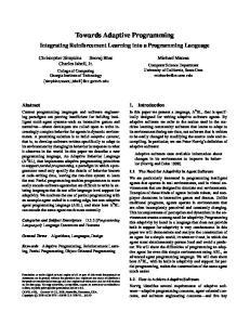 Towards Adaptive Programming