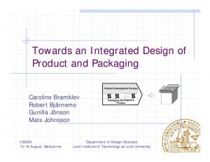 Towards an Integrated Design of Product and Packaging